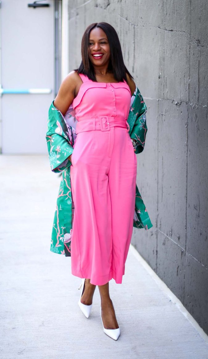 Atlanta fashion blogger wearing Gabrielle union for New York and Compnay spring pink jumpsuit and green floral kimono and white pumps by manolo blahink-8