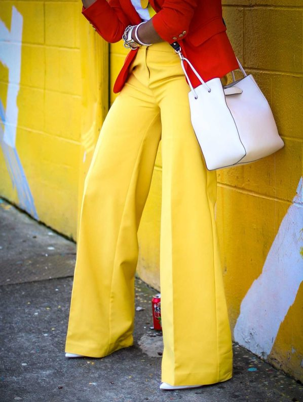 Atlanta fashion blogger wearing yellow pants, orange jcrew blazer, white vince t-shirt, henri bendel earrings and henri bendel bag to create the perfect spring outfit-8