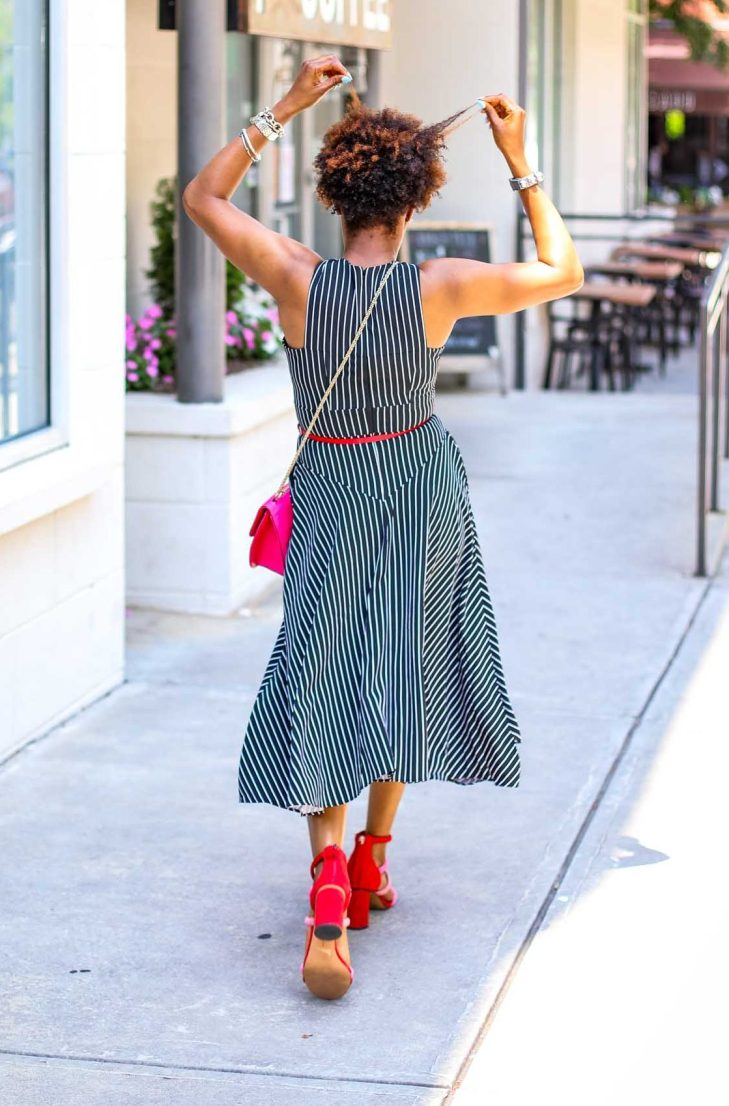 How to style a crisscross halter dress for summer style by atlanta fashion blogger