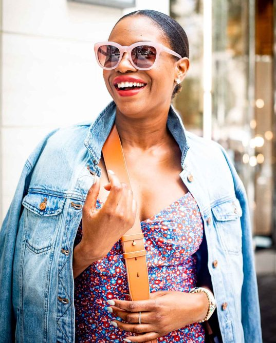 Lifestyle blogger Monica Awe-Etuk of Awed by Monica wearing J.Crew floral dress, denim jacket and black suede sandals for fall fashion_-19