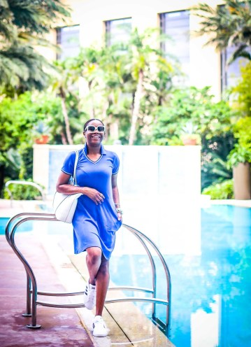 The best natural spf is Biossance. Atlanta blogger on vacation using spf-3