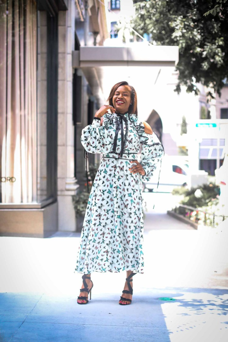 buffterfly midi dress worn with alexandre birman sandals by fashion blogger