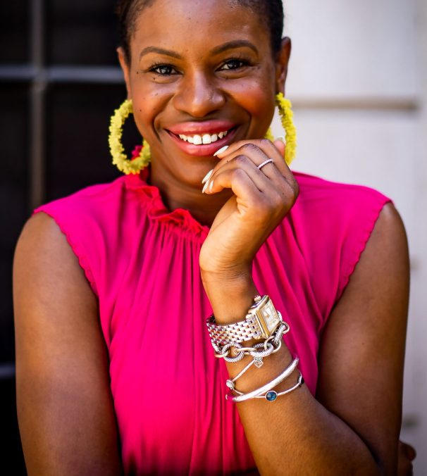 Atlanta fashion and lifestyle blogger Monica Awe-Etuk wearing yellow earrings from baublebar and Michele diamond deco watch