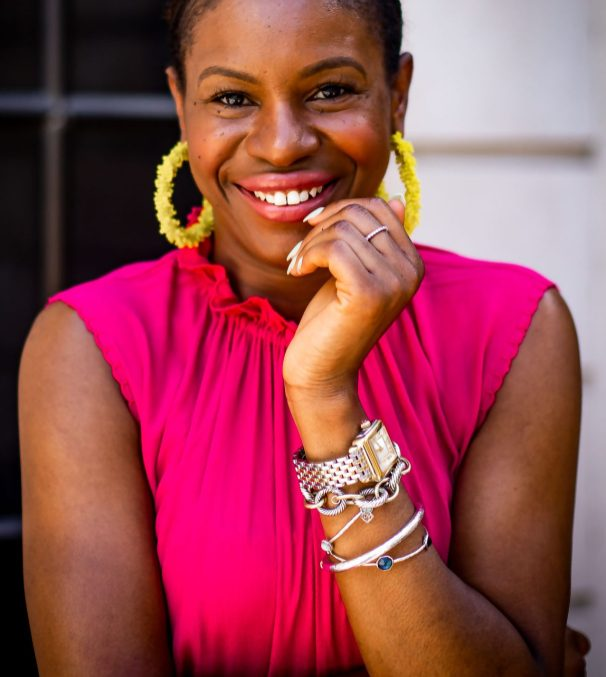 Atlanta fashion and lifestyle blogger Monica Awe-Etuk wearing yellow earrings from baublebar and Michele diamond deco watch