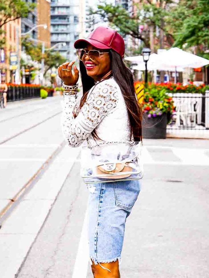 Atlanta fashion and lifestyle blogger wearing denim bermuda shorts from, leather baseball cap, white lace tops, and white pumps-10