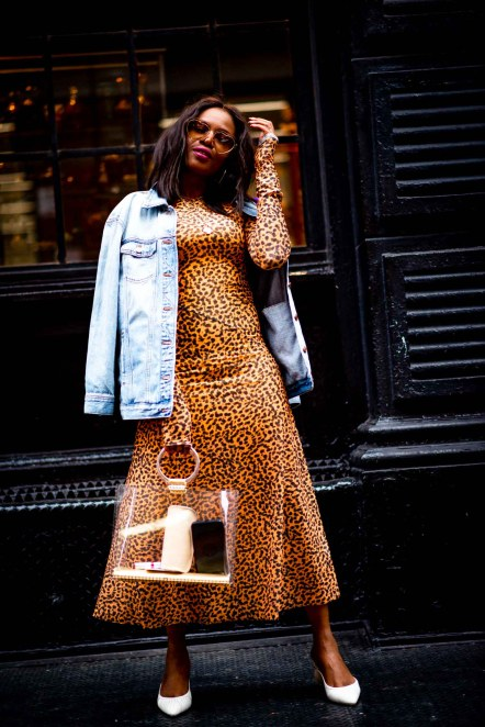 leopard midi dress worn by Atlanta fashion blogger Monica Awe-Etuk