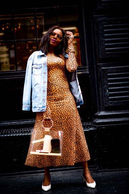 leopard midi dress worn by Atlanta fashion blogger Monica Awe-Etuk