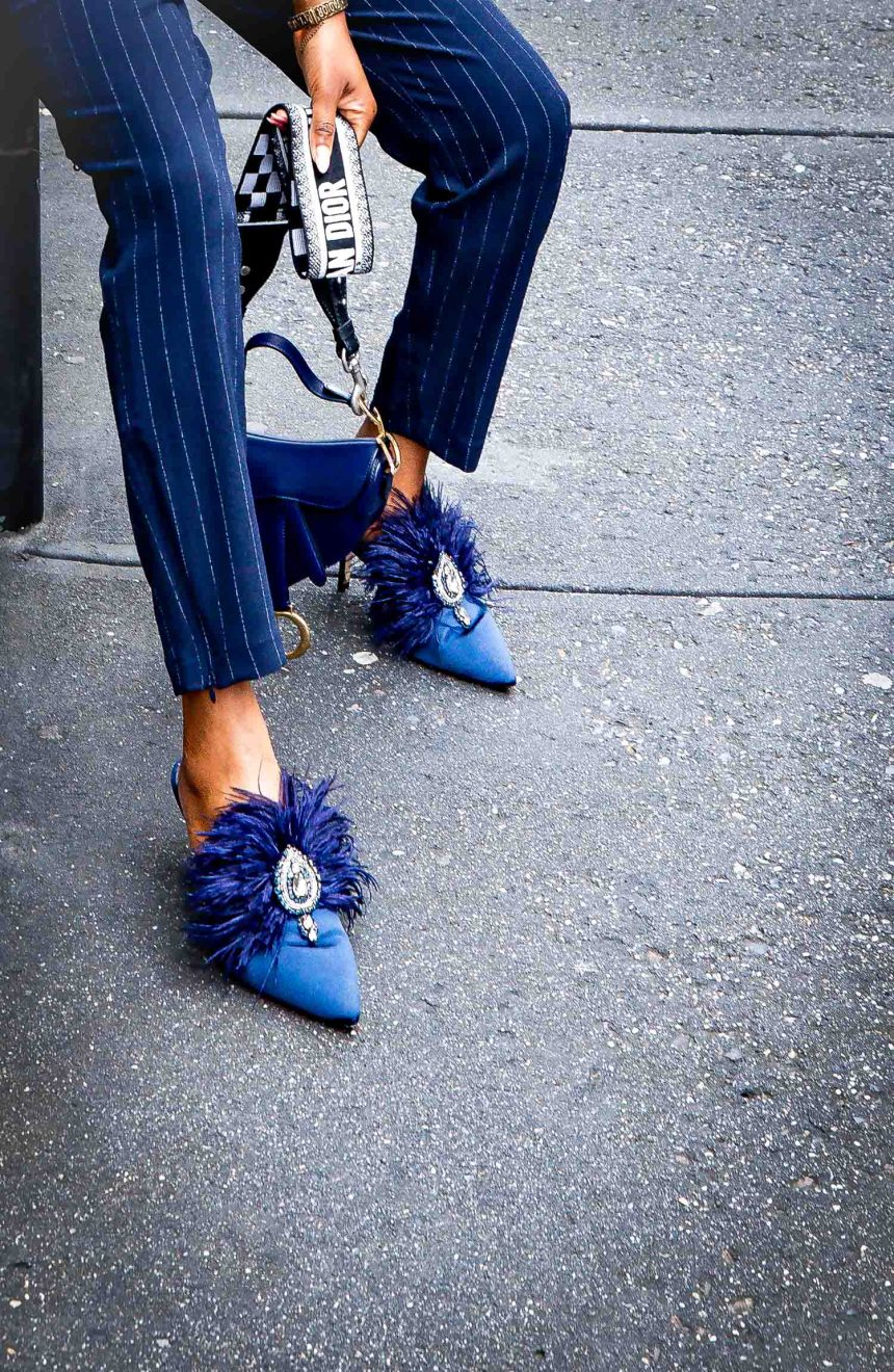 Fashion and lifestyle blogger Monica Awe-Etuk wearing a navy pinstripe suit and feather mules by Tory Brunch and new Christian Dior Saddle bag-9