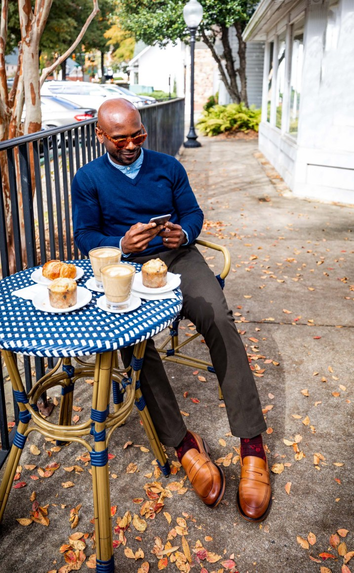 Atlanta lifestyle blogger Monica Awe-Etuk and husband in the new Dockers smart khaki pants, v-neck sweater and butterscotch loafers