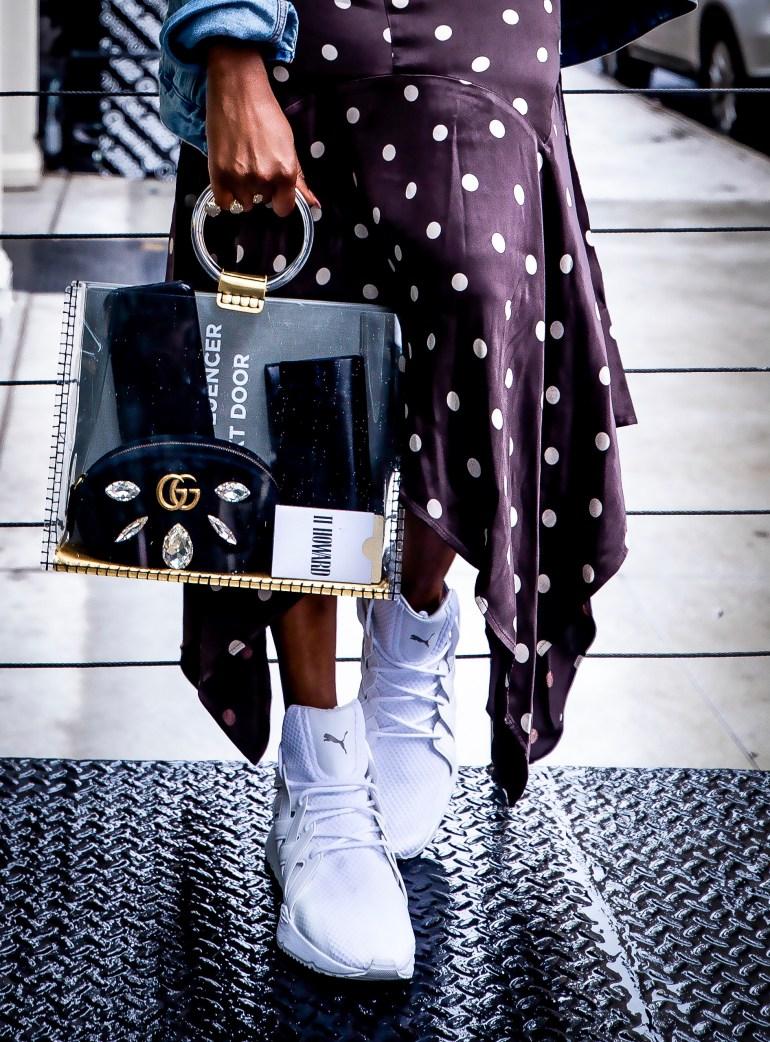 Atlanta blogger wearing moschino t-shirt and ganni polkadot midi skirt and dad sneakersF5A1817-Edit