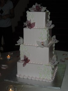 Buttercream Frosting with Fresh Flowers-Orchids by Cake Artist Studio in Champaign