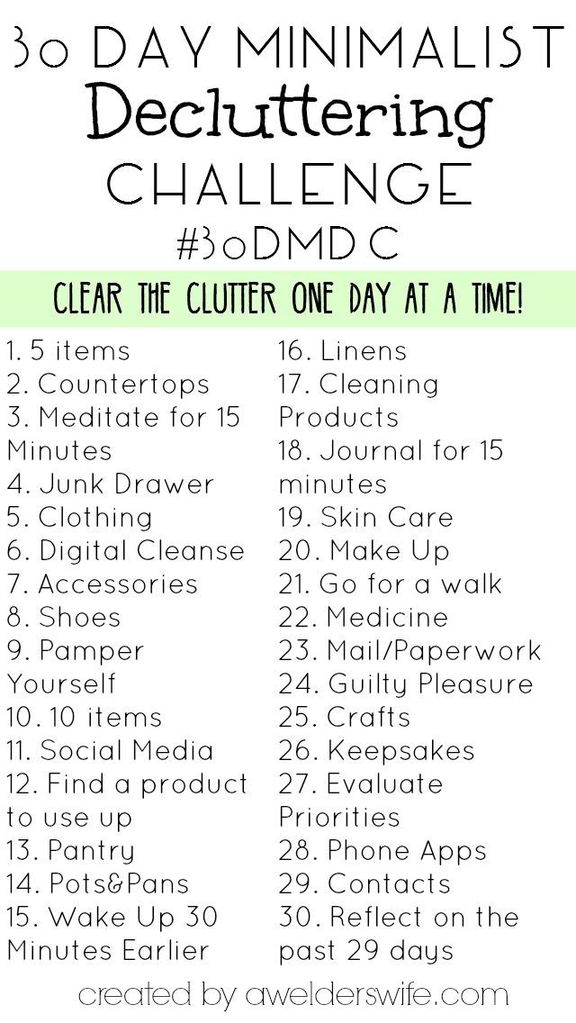 30 day minimalist decluttering challenge a welder 39 s wife for Minimalist living list