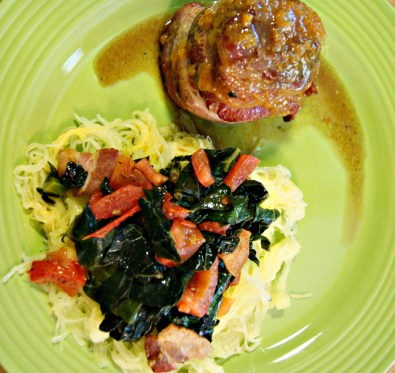 Bacon Wrapped Kale with Spaghetti Squash Dressed in Kale, Tomato, and Bacon