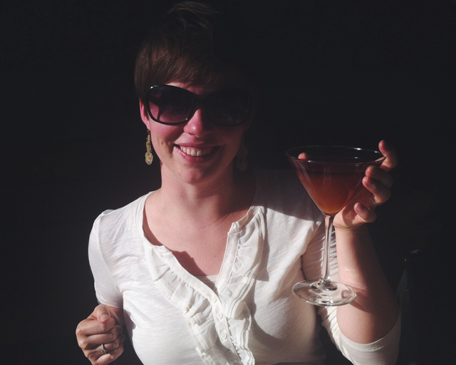 CHEERS! (My friend Bee with her Brix Layer cocktail!)