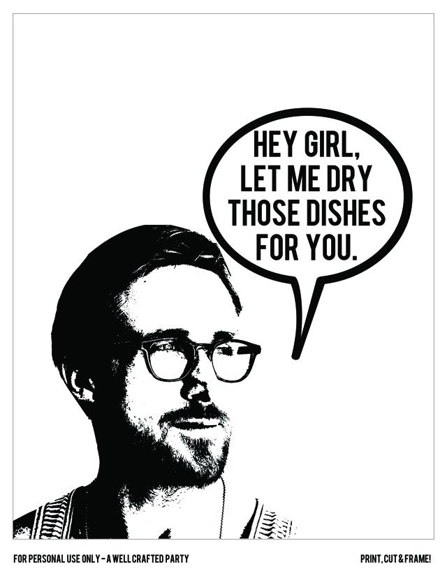 Hey Girl Party Favors - Ryan Gosling Tea Towels