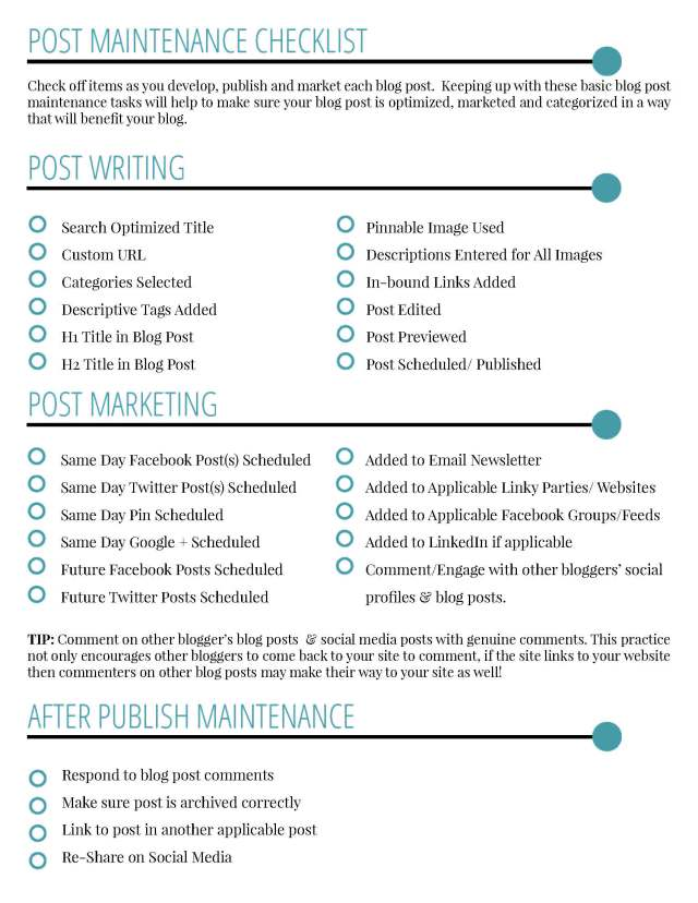 Blog Maintenance Worksheet - A Well Crafted Party