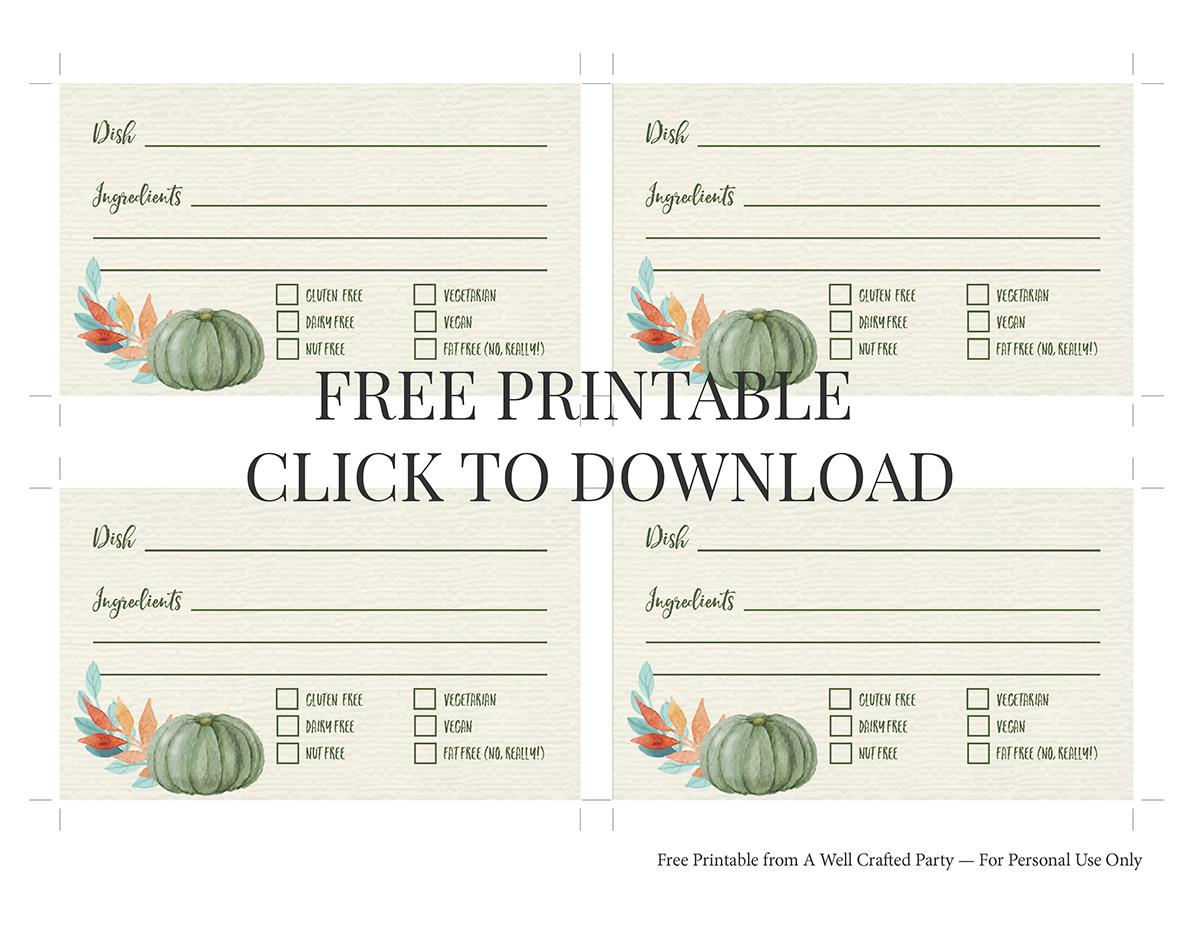 Free Printable Thanksgiving Potluck Cards