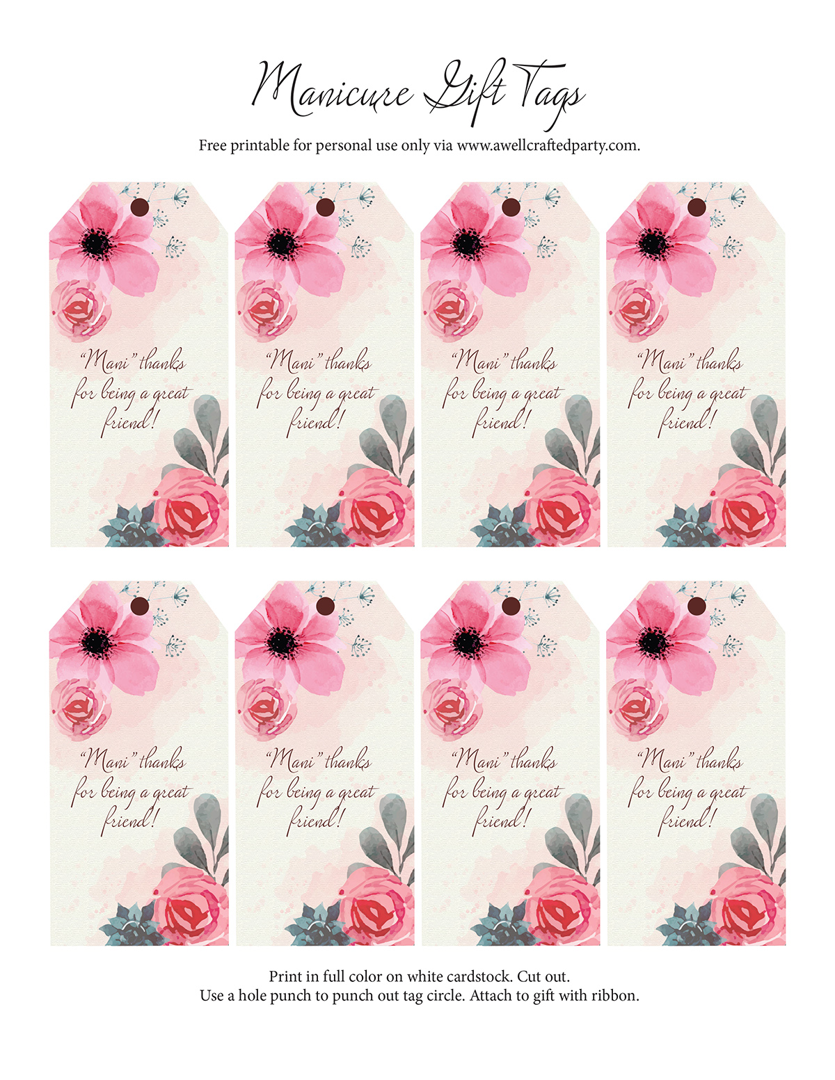 """Mani"" Thanks gift tags free printables - A Well Crafted Party"