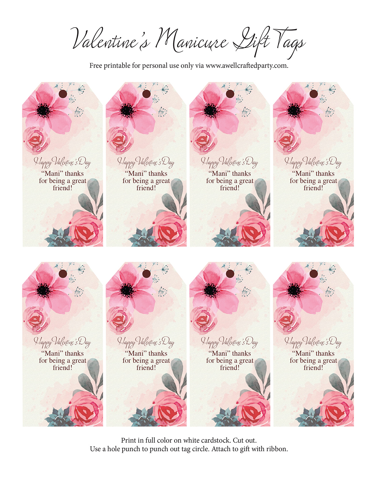 "Free Valentine's Day Gift Tags - ""Mani"" Thanks! A Well Crafted Party"