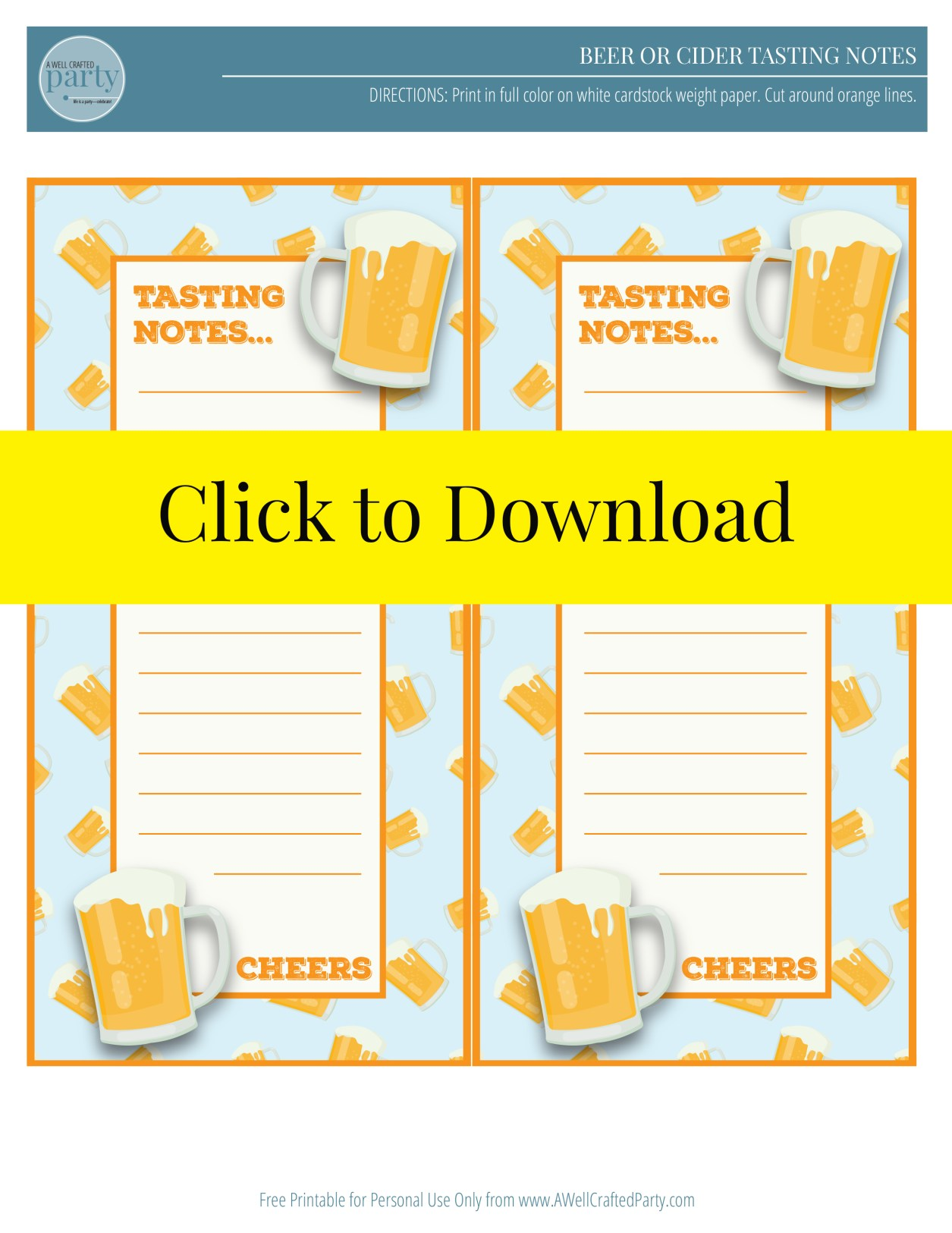 Beer Tasting Printable | A Well Crafted Party