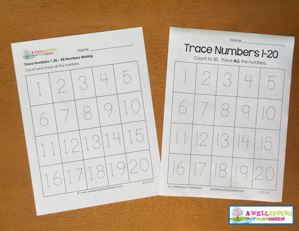 Tracing Numbers 1 20 Worksheets Blog Post