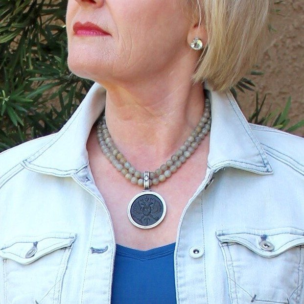 double strand Labradorite with Canard medallion necklace