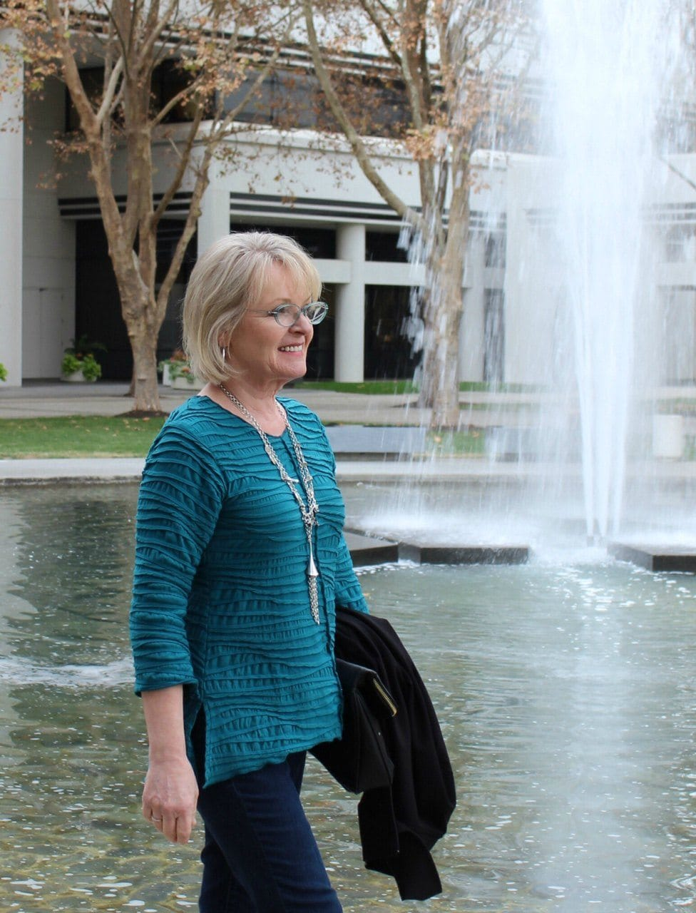 Jennifer Connolly of A Well Styled Life wearing Carol Turner top from Artful Home