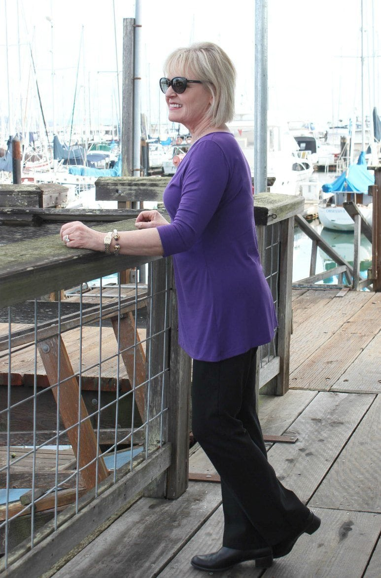 Jennifer Connolly of A Well Styled Life on the dock in Sausalito, CA