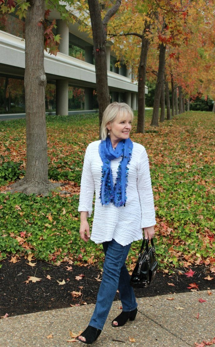 Jennifer Connolly of A Well Styled Life wearing Pezzo Scarf from Artful Home