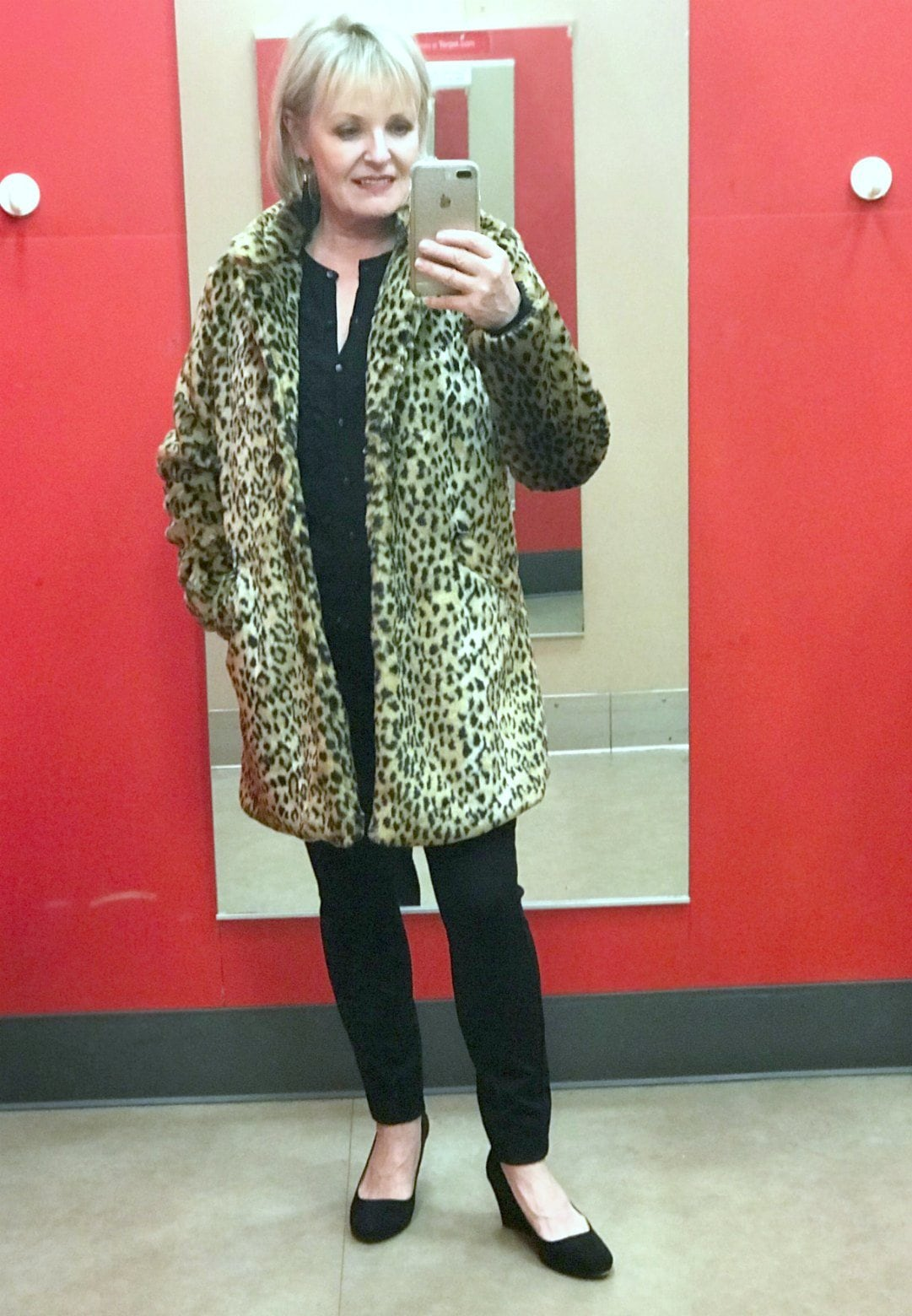 Jennifer Connolly of A Well Styled Life wearing Target leopard coat