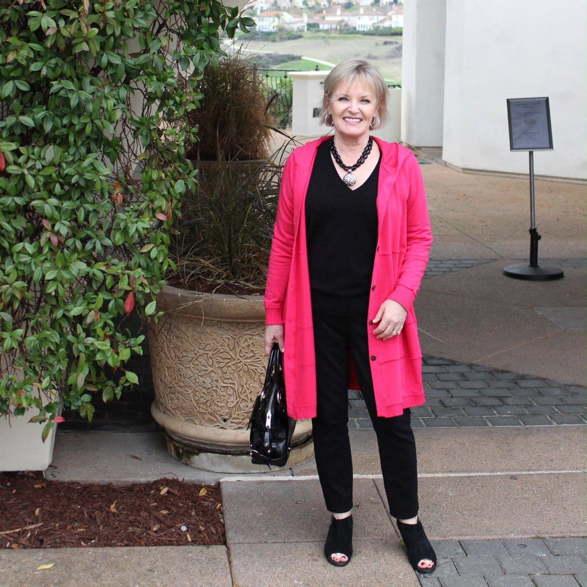 Jennifer Connolly of A Well Styled Life wearing Bee Hoodie from Artful Home