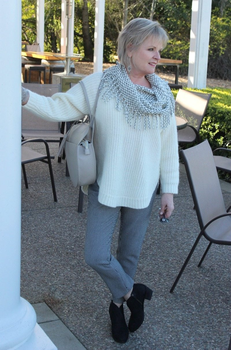 Jennifer Connolly of A Well Styled Life wearing ebony and ivory with gray accents and Eileen Fisher booties