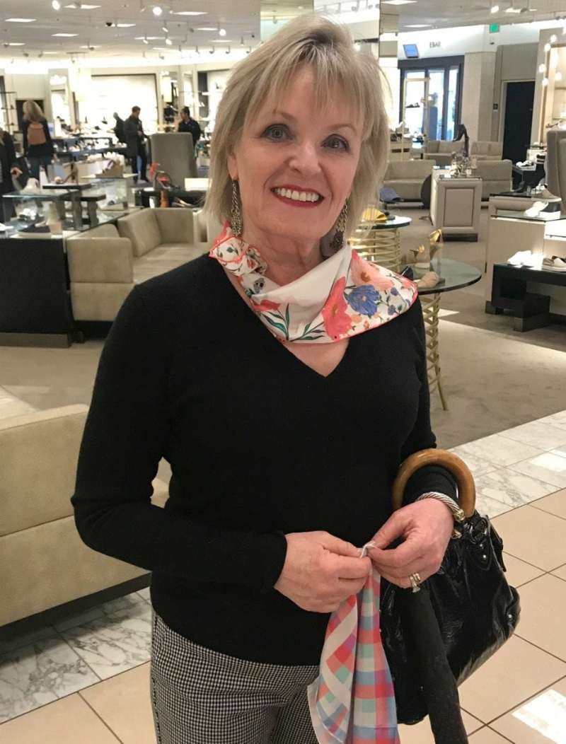 Jennifer Connolly of A Well Styled Life shopping Kate Spade scarves at Nordstrom