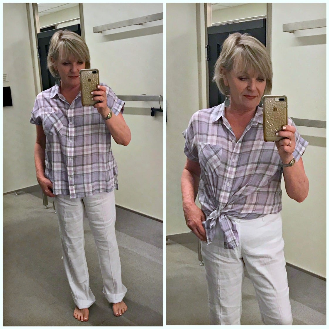 Jennifer Connolly of A Well Styled Life modeling Mod Short Sleeve Boyfriend Shirt SANCTUARY at Nordstrom