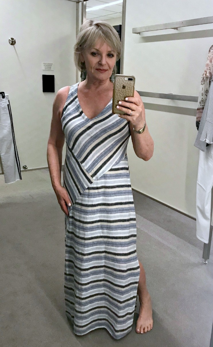 Jennifer Connolly of A Well Styled Life modelingCaslon Striped A-Line Maxi Dress from Nordstrom