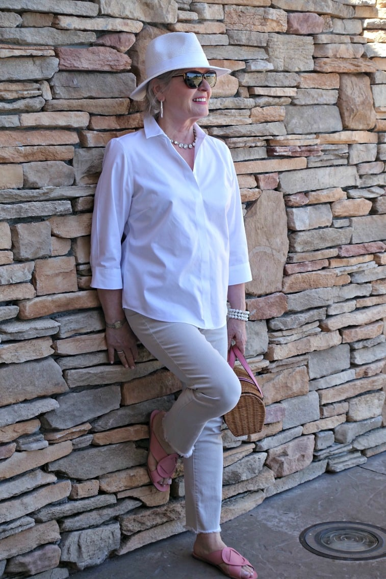 Jennifer Connolly of A Well Styled life wearing Mercedes Castillo pink shoes from Nordstrom