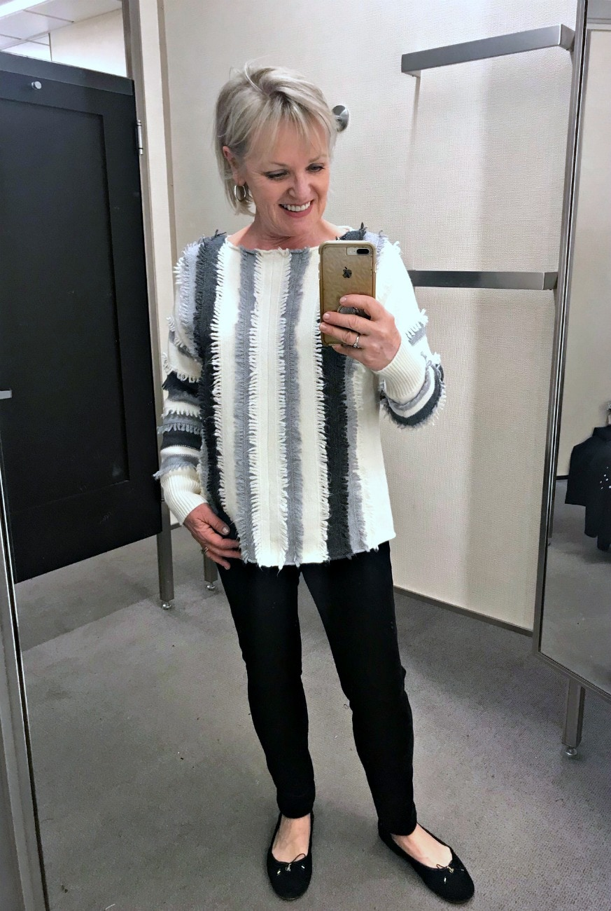 Jennifer Connolly of A Well Styled Life modeling Vince Camuto sweater from Nordstrom