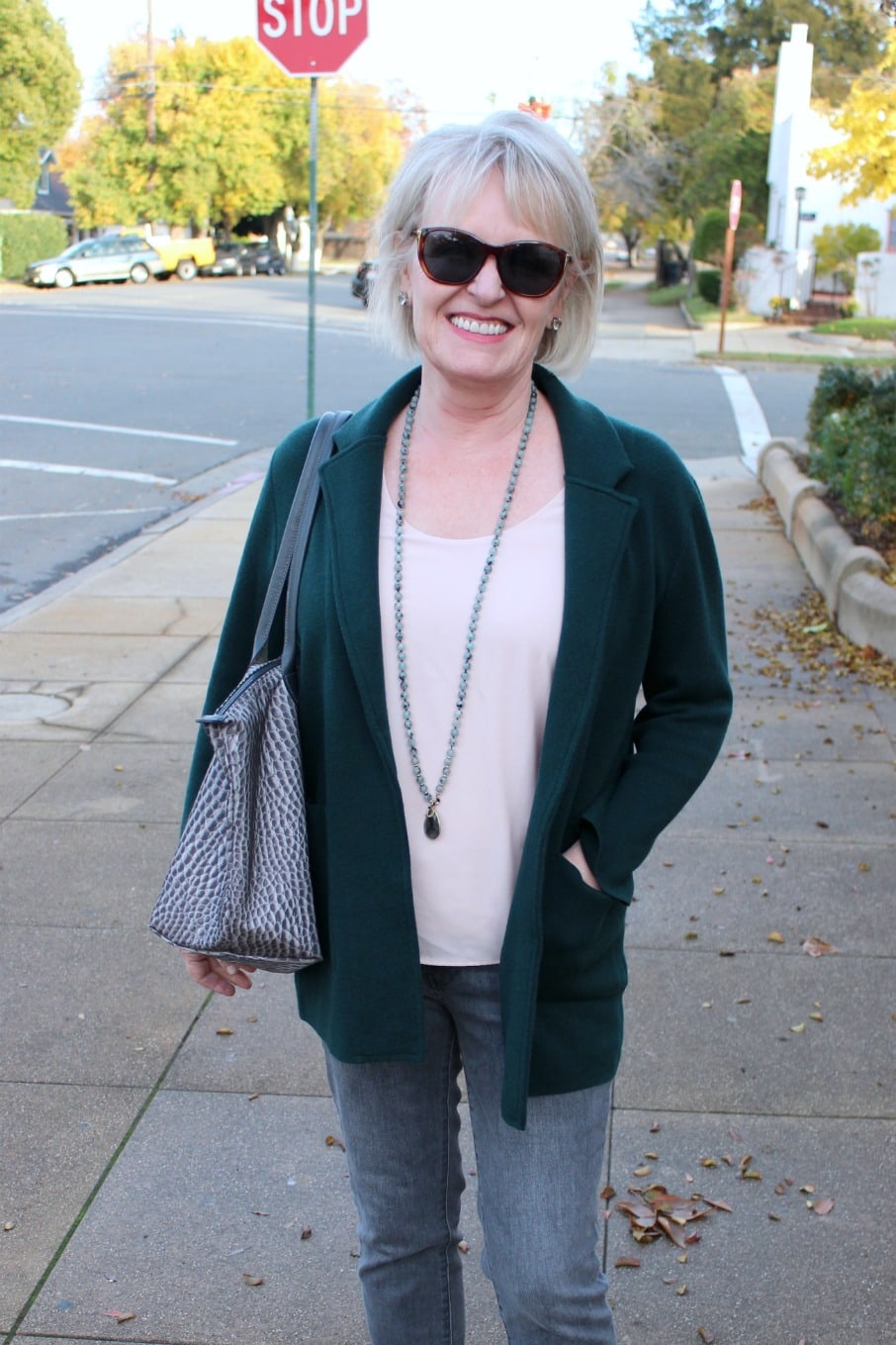 jennifer connolly of a well styled life styling green sweater jacket from J.Crew