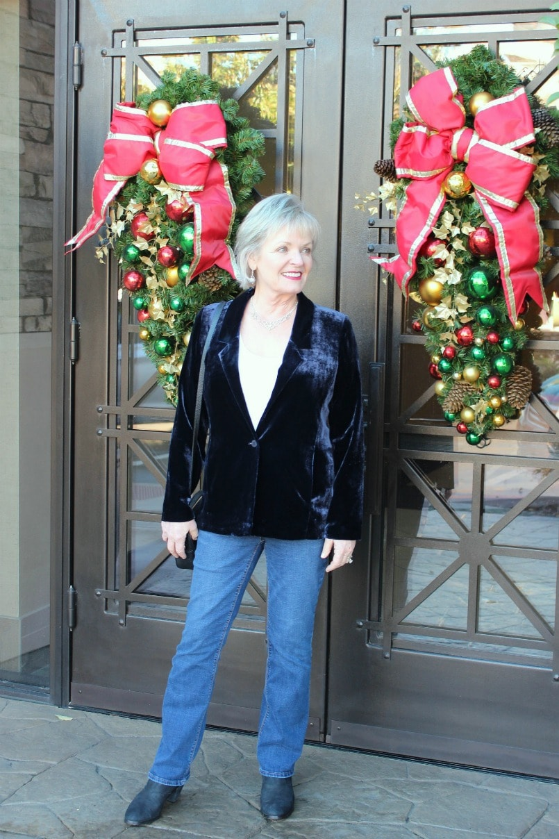 Jennifer Connolly wearing EILEEN FISHER velvet blazer