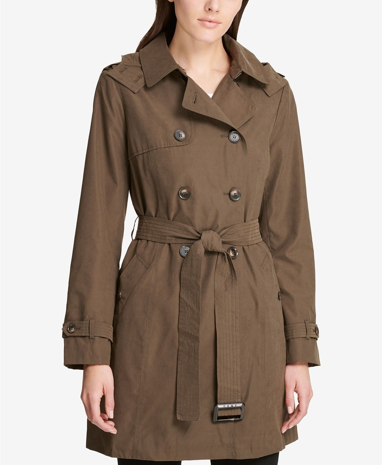 button that match coat fabric on a trench coat
