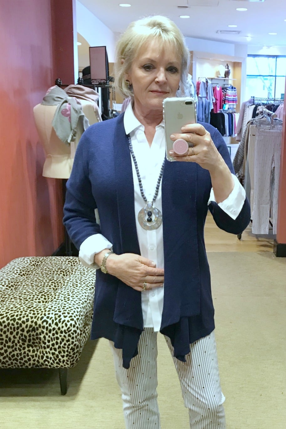Jennifer of A Well Styled Life wearing Chico's Multi-Stitch Drape front Cardigan