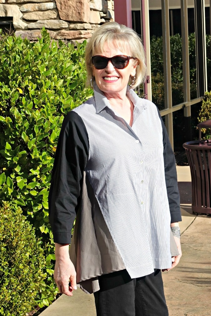 Jennifer of A Well Styled Life wearing Mix Button Up shirt by Alembika from Artful Home
