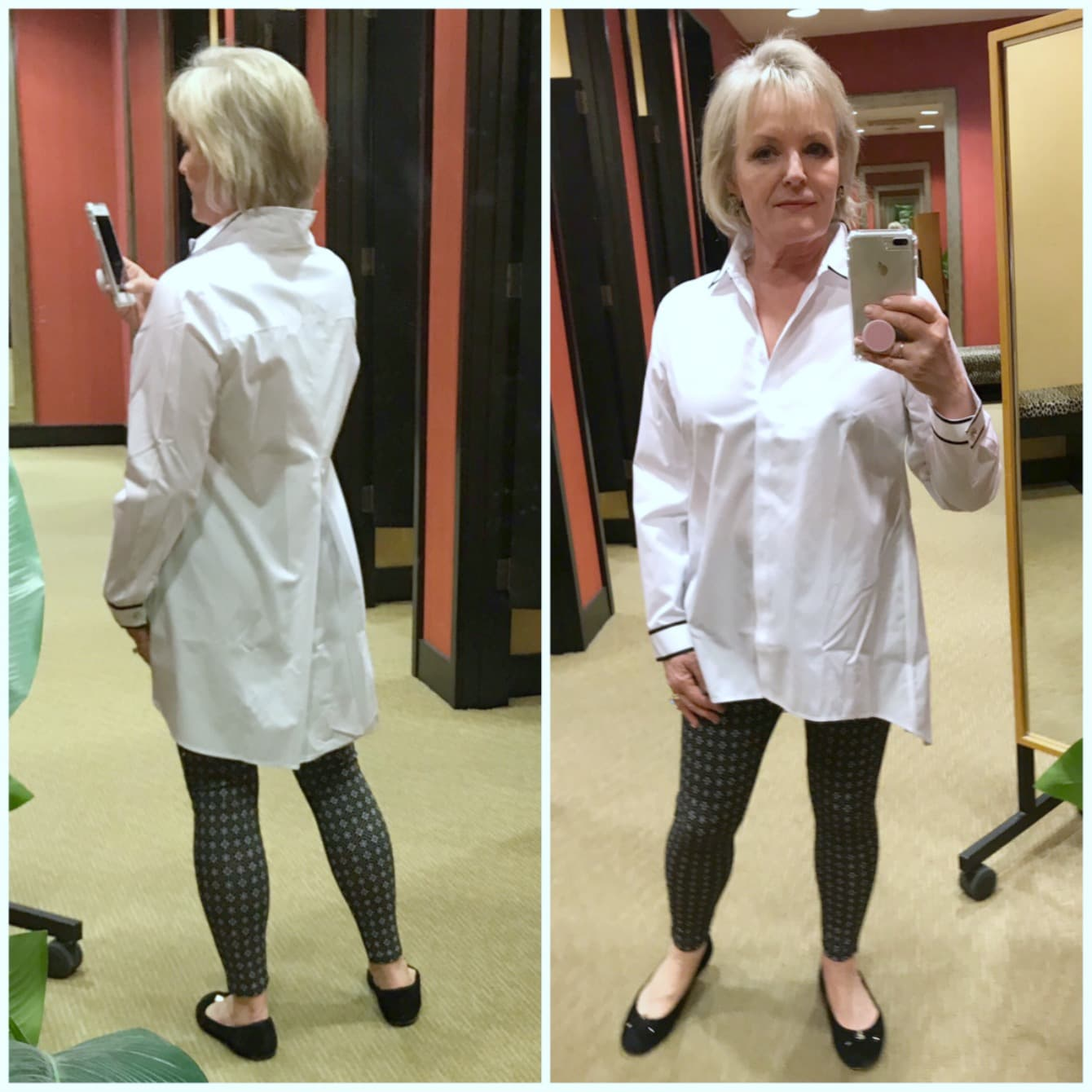 Jennifer of A Well Styled Life wearing leggings and tunic from Chico's