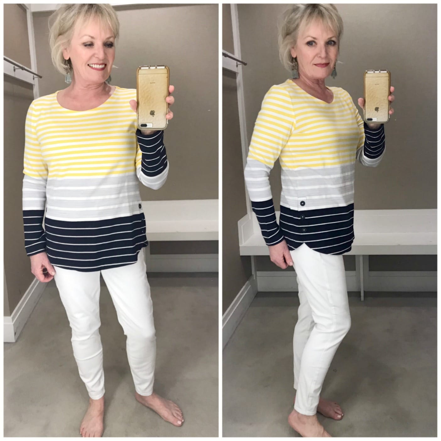 Jennifer of A Well Styled Life wearing yellow strip top from Talbots with white jeans