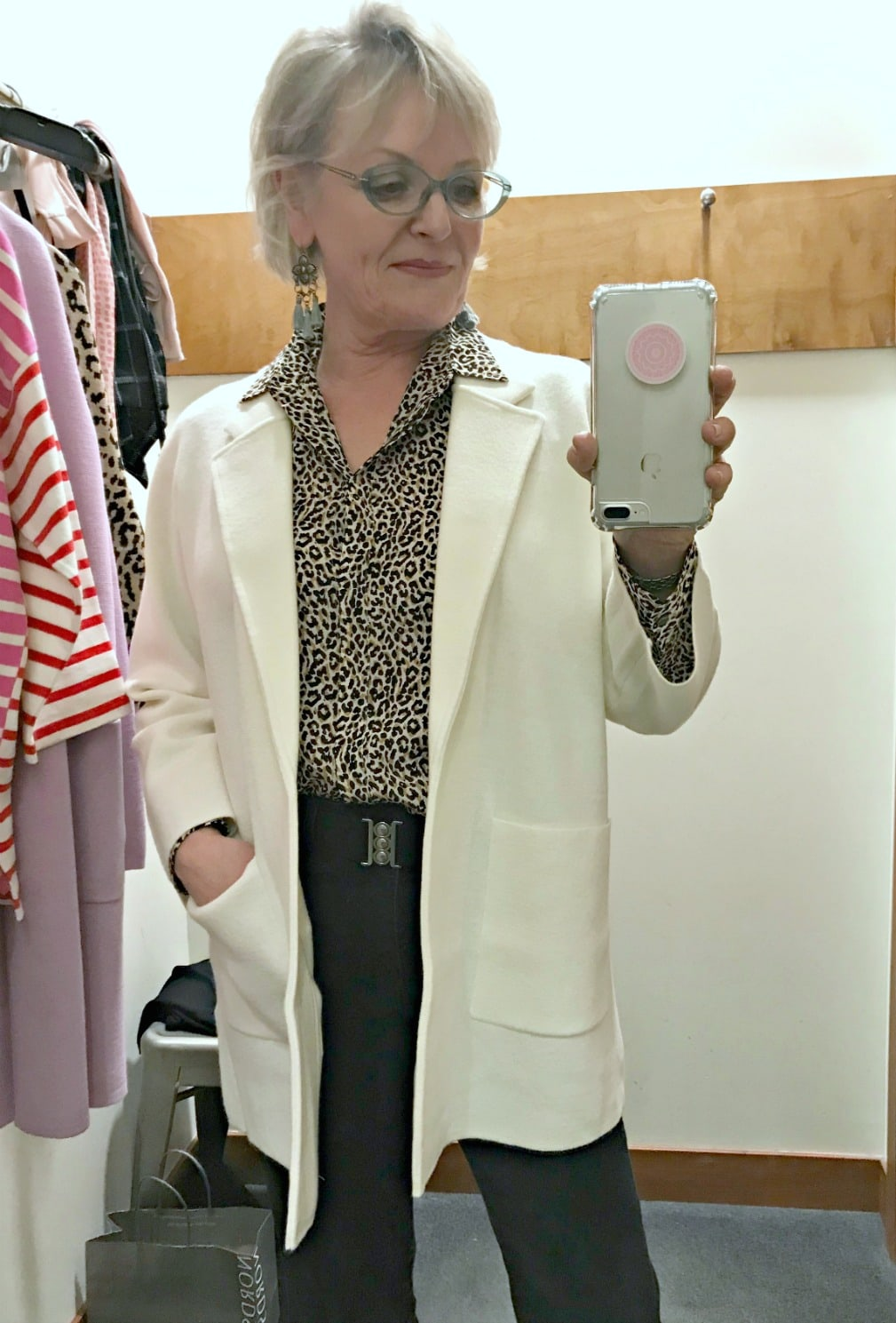 Jennifer of A Well Styled Life wearing ivory sweater blazer by J.Crew