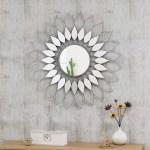 Decorative Sunburst Mirror Flower Shaped Metal Wall Decor