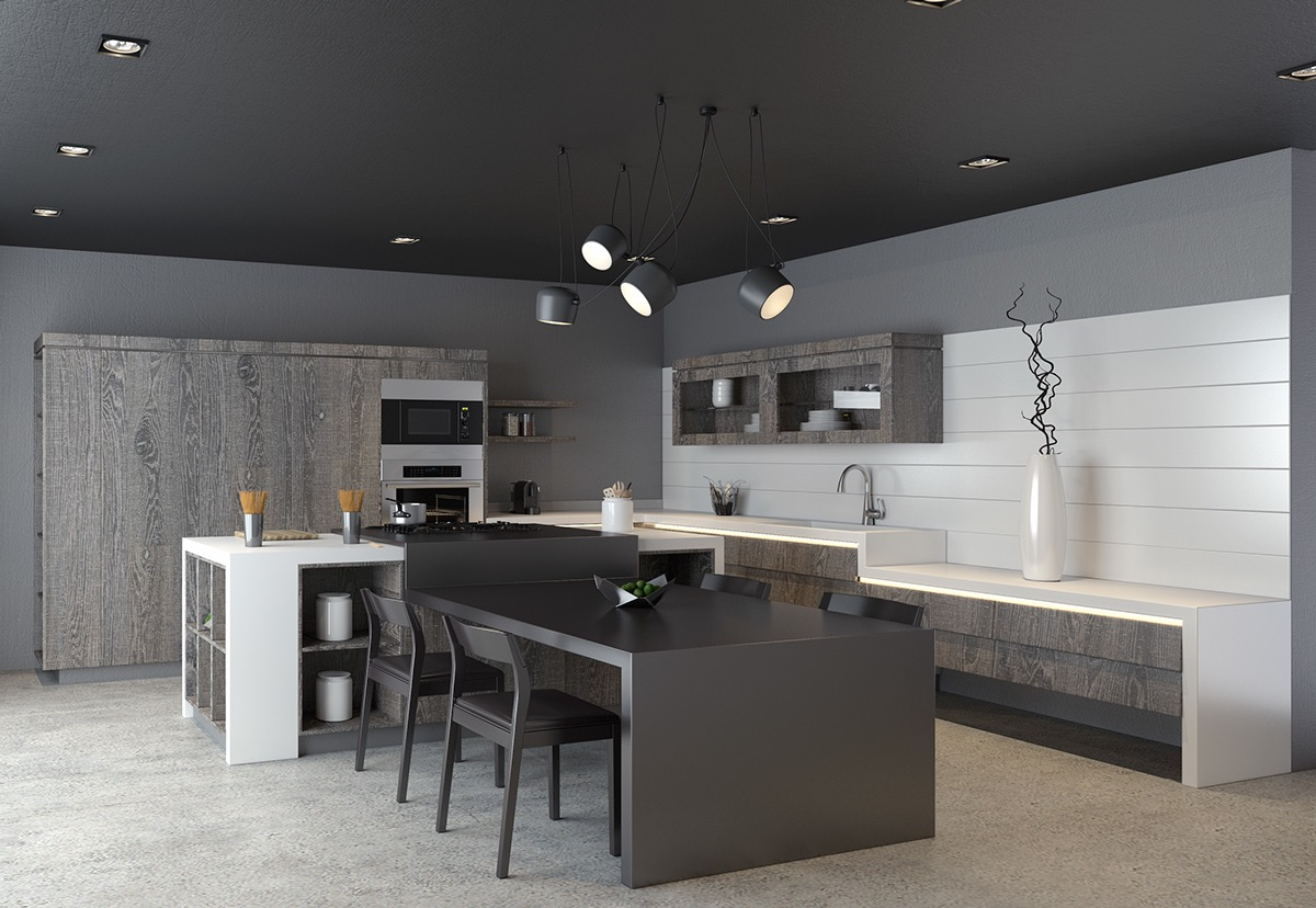 Greyscale Kitchen With Neutral Wood Cabinets Awesome Decors