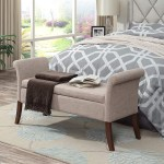 Stylish End Of Bed Storage Bench With Rolled Armrests And Beige Upholstery Awesome Decors