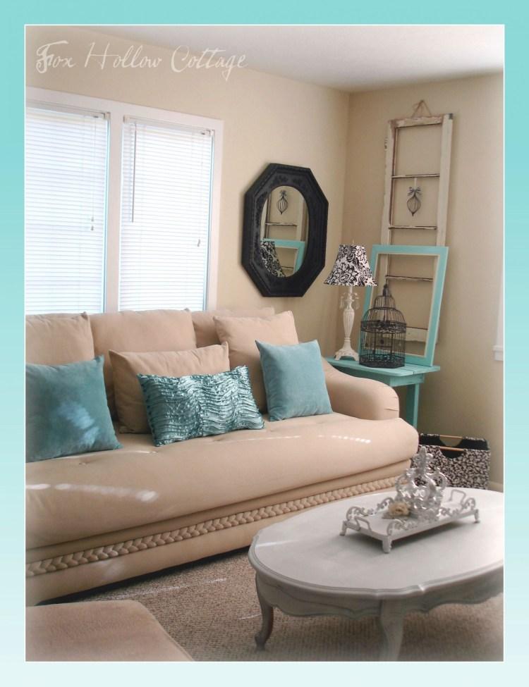 Aqua Black White Tan Living Room Shabby Thrifted Mix Inside Aqua Living Room Decorating Ideas Awesome Decors