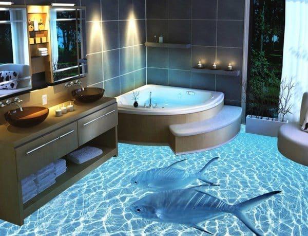 Badrum golv med 3D design